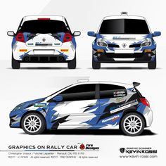 Car livery design for rally team Christophe Vassor / Michel Leperlier - On Renault Clio RS III R3. With Fire Designs. ©2017 - K. ROSSI - All rights reserved. ©2017 - FIRE DESIGNS - All rights reserved.
