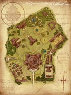 The Grand Lodge of Absalom University grounds LIbrary farmland forest hills -- fantasy cartography by Jared Blando Pretty good map of the Norquay University campus Fantasy Map Making, Fantasy City Map, Fantasy Rpg, Medieval Fantasy, Dungeons And Dragons, Plan Ville, Pathfinder Maps, Village Map, Pen & Paper