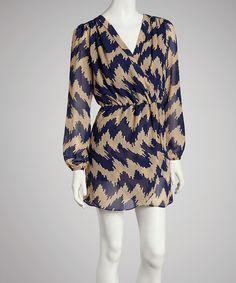 Look what I found on #zulily! Blue & Tan Zigzag Tulip Dress by Reborn Collection #zulilyfinds