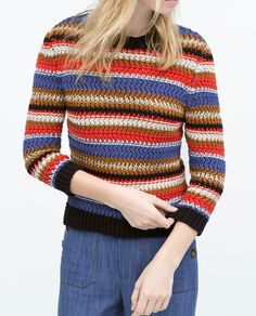 Image 2 of MULTICOLOURED STRIPED SWEATER from Zara