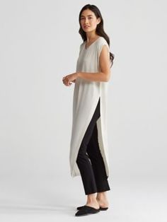 U-Neck Long Tunic with High Slit in Silk Georgette Crepe-R6GC-T4080
