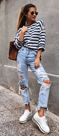 shop the look, boyfriend jeans, trendy outfit, outfit of the day, stripped, outfit inspiration #shopthelook #SpringStyle #SummerStyle #BeachVacation #WeekendLook #OOTD