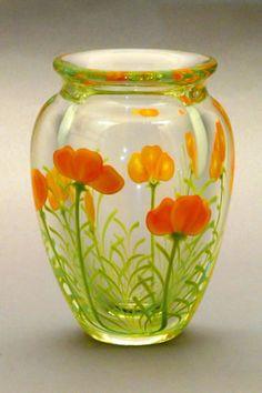 Poppies vase - Orient & Flume Art Glass