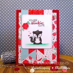 Christy Gets Crafty: Stinkin' Cute - Lawnscaping Challenge 123 #lawnfawn #lawnscapingchallenges #ellenhutson (video tutorial)