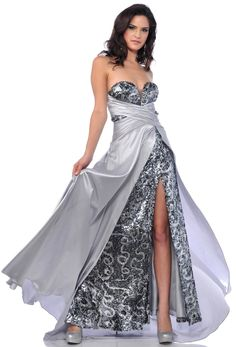 Zeilei Silver Sequins Strapless High Slit Prom Dress