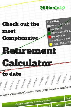 The most comprehensive Online Retirement Calculator you will find online. Give it a try and tell me differently