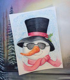 Original 9X12 Watercolor snowman by Lukan4Art on Etsy, $42.50