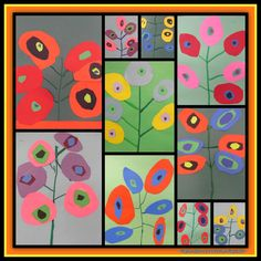 Kandinsky Inspired Concentric Circle Blooms for Spring (from PreK & K Sharing)