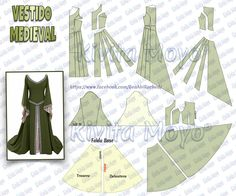 Best 11 Rosalie's Medieval Woman Easy Laced Gown Tutorial – SkillOfKing. Doll Dress Patterns, Costume Patterns, Clothing Patterns, Sewing Clothes, Barbie Clothes, Diy Clothes, Arwen Costume, Medieval Dress Pattern, Costume Venitien