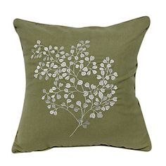 "18"" Square Linen Embroidered Leafage Decorative Pillow Cover – USD $ 19.99"