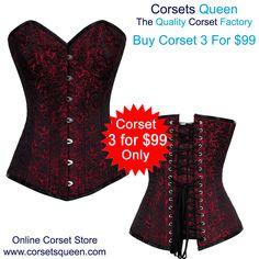 Red and Black Corset Dress, Fashion Corset Dress, EB-9051 RED/BLACK BRO-100 Corset