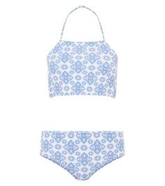 Teens Blue Tile Print Tankini Set