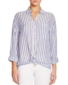 In a nod to spring's so-now stripes, Rails taps the trend in this breezy button-down Daniela shirt, designed exclusively for Bloomingdale's. A slouchy drop-shoulder silhouette and tie front give this coveted weekend staple a relaxed finish. #100PercentBloomies