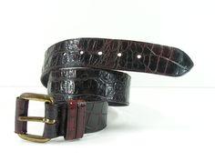 Joan & David genuine alligator skin belt womens 30 brown supple leather brass #JoanDavid
