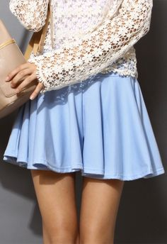 Pleated Shorts in Light Blue