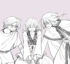 Akatsuki no Yona / Yona of the dawn anime and manga || Yona, Yoon, and Kija <33 3 precious cinnamon rolls