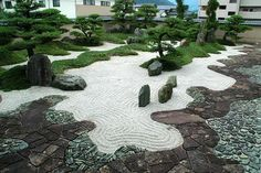 Feb 2020 - Origin and history In densely populated countries such as Japan, where free space is a precious commodity, a lot of emphasis is traditionally placed on garden design. With a great sense of aesthetics, editing and pa Q Garden, Zen Rock Garden, Zen Garden Design, Japan Garden, Garden Stones, Garden Paths, Japanese Rock Garden, Japanese Gardens, Garden Architecture