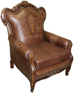 Superbe Hand Tooled Western Accent Chair Western Accent Chairs   Western Style  Accent Chair Is An Antique