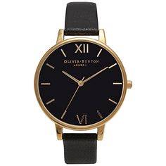 Buy Olivia Burton OB15BD55 Women's Big Dial Winter Garden Leather Watch, Black/Gold Online at johnlewis.com