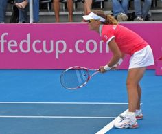Samantha Stosur playing Fed Cup for Australia at the Domain Tennis Club in Hobart.