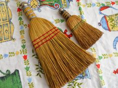 Mawmaw would keep these in her car. Pair of Vintage Whisk Brooms