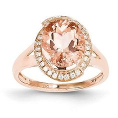 14 kt rose gold halo diamond and morganite by FancyFacet on Etsy Morganite Jewelry, Morganite Ring, Rose Gold Jewelry, Fine Jewelry, Jewelry Rings, Jewelry Watches, Discount Diamond Rings, Pink Gemstones, Halo Diamond