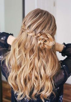 18 Stylish Half Up Waterfall Braid Rosette Trends for 2018. Looking for modern braids? Here we have compiled a list of amazing ideas of half up waterfall braid rosette to get attractive hair looks. Waterfall braids are very trendy and bold for long and medium thick hair. As you can see here we have made a list of long waterfall braid styles for ladies who want to wear it now.