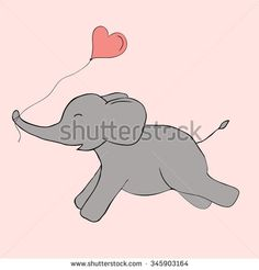 Cute and funny elephant with balloon heart doodle. Pink and grey colors. Vector image.  Ideal for sites, brochures, logos, design, textile, banners etc   #elephant #vector #love #pink #run #valentines #day #balloon #heart #color