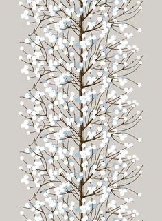 Lumimarja-puuvilla (beige,ruskea,sininen)  Kankaat, Puuvillakankaat   Marimekko