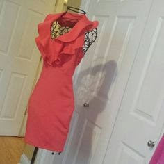 Dress BEAUTIFUL Beautiful dress super sexy , i should say the color corral ( it looks more orange on pictures could capture the right cilor),  amazing vibrant color.open back with zipper. I'm pretty open to reasonable offers. Great for Christmas party or wedding :))) SOLEMIO Dresses Mini