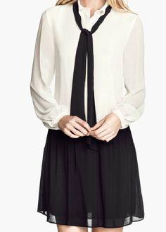 White Long Sleeve Contrast Black Chiffon Dress - Fashion Clothing, Latest Street Fashion At Abaday.com