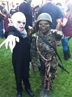 the BEST kid's Halloween costumes, EVER!! Mini-Nosferatu and Zombie Soldier.
