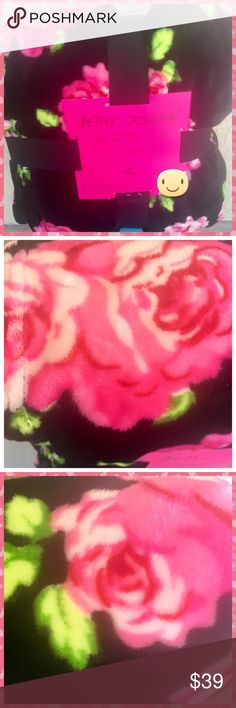 """Betsey Johnson Pink Rose Black Plush Blanket Queen Betsey Johnson Pink Roses Black Plush Blanket - Queen/Full - Betsey Johnson unique design of Bold Pink Roses on Black Plush. Ultra soft - Machine Wash & Dry. Soft to the touch, provides warmth without weight. 60"""" x90""""  100 Polyester Betsey Johnson Other"""