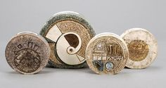 Four Troika Pottery wheel vases