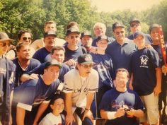 David Cone charity softball tournament NYC (2000). In this photo are the Skipper, Joe Torre, actor Billy Crystal & 1 of the teams I sponsored.  Over the years the David Cone foundation has done so much for charity. Way to Pay it Forward team.