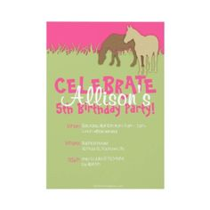 horse lover birthday party invitation for the horse lover little girls
