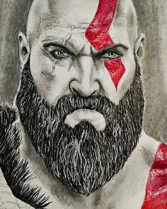 35ae37d31dc Graphite ink and colored pencil portrait. #kratos #coloredpencil #portrait  #drawing #