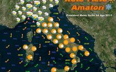 Bollettino Meteo Italia per il 24 Agosto 2015 Previsioni Meteo Italia: Molto nuvoloso al nord e toscana con precipitazioni diffuse anche a carattere temporalesco di forte intensità, in particolare su liguria, toscana, emilia romagna occidentale  #previsioni #meteoitalia #maltempo