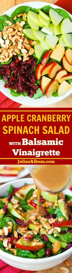 Apple Cranberry Spinach Salad with Balsamic Vinaigrette - healthy, delicious, vegetarian,gluten free recipe! #Thanksgiving #Christmas #Holidays