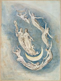 """William Blake: 'Our Time is Fix'd', from Robert Blair's """"The Grave"""", 1805, object 10. Pen, ink and water colors over traces of pencil on wove paper"""