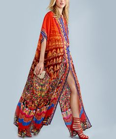 Another great find on #zulily! Red Heritage Lace Up Silk-Blend Caftan by Parides  #zulilyfinds