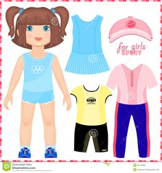 Paper Doll With A Set Of Sport Clothes