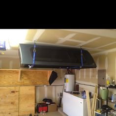 Storing truck camper shell on ceiling when not needed. Truck Mods, Tow Truck, Trucks, Kayak Storage Rack, Camper Storage, Truck Canopy, Truck Camper Shells, Truck Toppers, Truck Camping