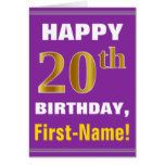 Bold Purple Faux Gold 20th Birthday w/ Name Card...