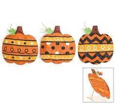 """#burtonandburton Hand-painted metal mesh frame pumpkins. Orange metal mesh pumpkins with polka dots, swirls and chevron. Stems are brown and green leaf at top.19""""H X 16 1/2""""W X 2 1/2""""DEasel Out: 7""""D1 assortment of 3."""