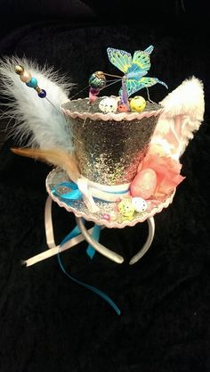 Easter Bunny Silver Mini Top Hat Easter Parade Bonnet Alice in Wonderland Tea Party