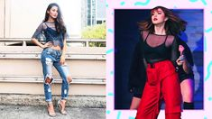 Learn how to wear sheer outfits and get style inspo from these celebs. All White Outfit, White Outfits, Bandage Skirt, Friend Outfits, Basic Outfits, Basic Tops, Sheer Fabrics, Black Tank Tops, Ripped Jeans
