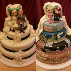One side traditional (with roses, bride, groom and french bulldog), other side super Mario. 'Split personality', 'half and half', or 'hidden' cake design.