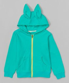 Love this Turquoise Ear Hoodie - Infant, Toddler & Kids on #zulily! #zulilyfinds