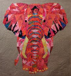 Elephant Abstraction quilt made by Jane Suzuki and machine quilted by Kathleen Crabtree. Pattern by Violet Craft. Paper Piecing Patterns, Quilt Patterns, Quilting Projects, Quilting Designs, Elephant Quilts Pattern, Asian Quilts, Bird Quilt, Quilted Wall Hangings, Applique Quilts